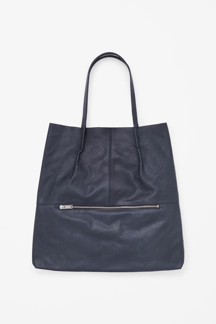 Foldover leather tote