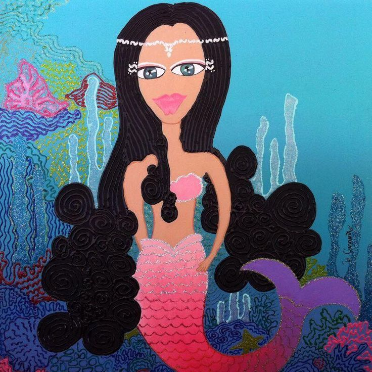 Sirena Acrílico sobre madera de 40 x 40 Disonible