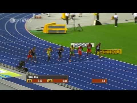 2009 : 9.58 by Usain Bolt.  Electrifying.