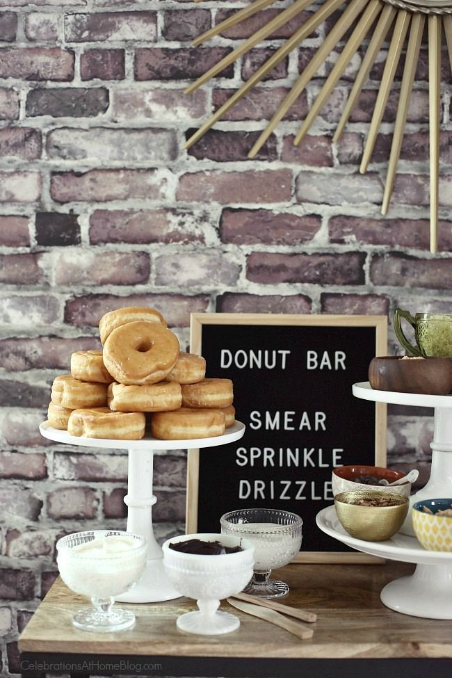 Set up a Donut Bar with Toppings Galore for your next party. You'll love this party idea for birthdays, baby/bridal showers, or back-to-school. Whatever it is you're celebrating, make sure to make it more fun with a donut toppings buffet.
