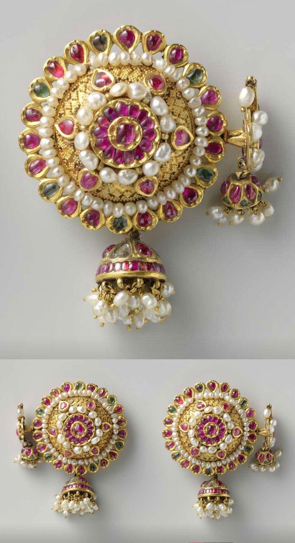 India | Pair of earrings ~ phuljhumka; gold, pearls and precious stones | c. 1750, Surat