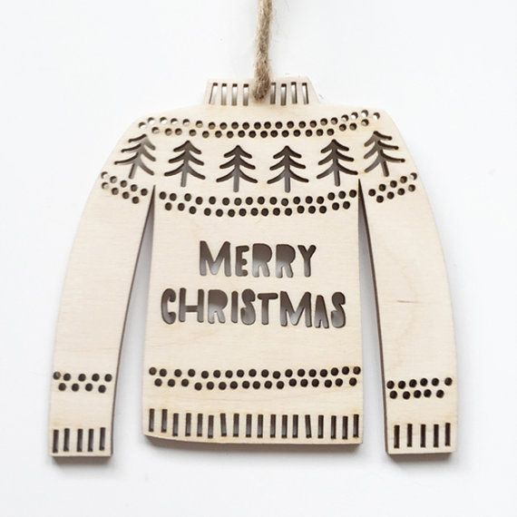 Christmas Jumper decoration  laser cut wood  by HelloSunshineEtsy