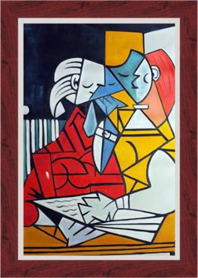 """Famosa releitura da pintura """"Dois Personagens"""" de Picasso, no tamanho de 90 x 120 cm emoldurada."""