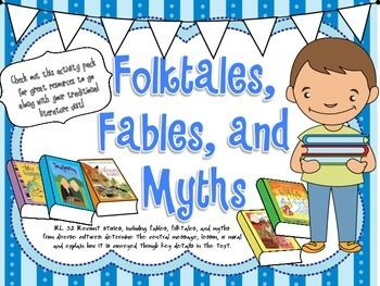 This 28 page activity pack is a great resource to use during your Traditional Literature Unit!It includes:Fable, Myth, and Folktale posters with definitionsComparison chart with answer key Whats the Story on booklet/worksheetMatch the Moral gameCharacter Profile worksheet Beginning-Outcome-Lesson organizer/essay pageCompare/Contrast worksheetsStoryboard Summary List of website resources