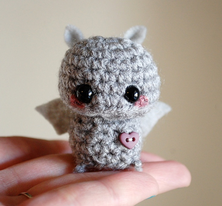 Gray Mini Bat Amigurumi - Kawaii Halloween Decoration. $10.00, via Etsy.