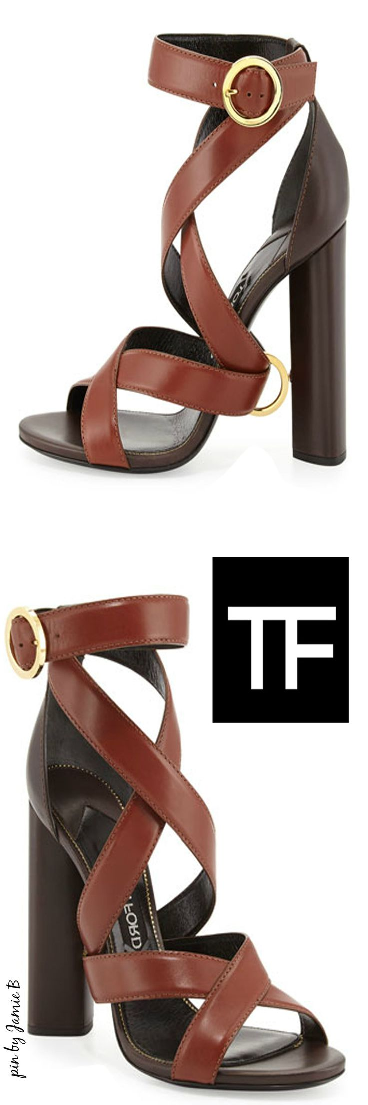 Tom ford fall 2015 two tone ankle wrap sandal dark brown