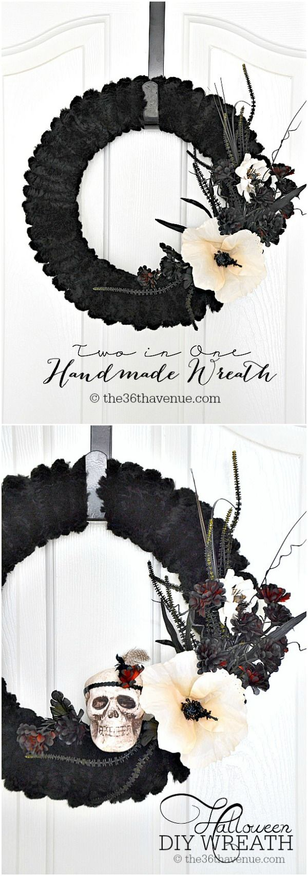 Halloween: Chic Halloween Wreath Tutorial at the36thavenue.com ... Eek!