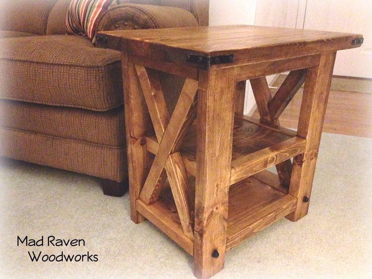 Reclaimed Wood Side Table With The X Design. Check Out Mad Raven Woodworks  On Facebook