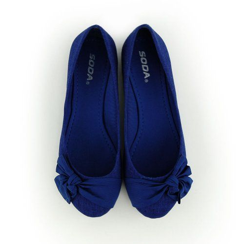 Amazon.com Royal Blue Bow Flat Shoes | Accessories And ...