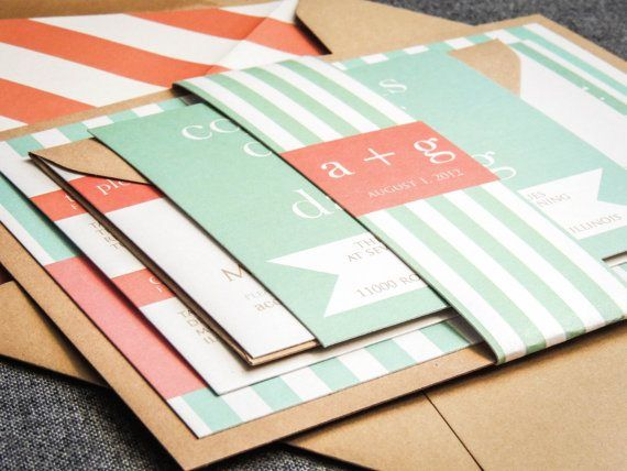 Mint and coral wedding invitation - http://themerrybride.org/2015/06/20/wedding-invitations-on-etsy-com-2/