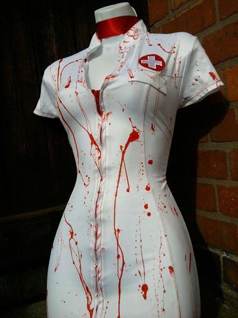 CRAZY NURSE zombie costume blood splatter ASYLUM by ZombieBrideuk, $45.00