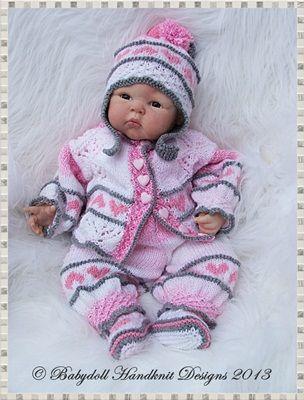"Heart Motif Pram Suit 16-22"" doll/newborn/0-3m Baby-knitting pattern, reborn, doll, pram suit, babydoll handknit designs"
