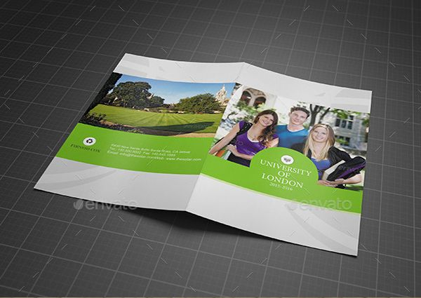 Brosur Sekolah - College Or University Bifold Brochure Template