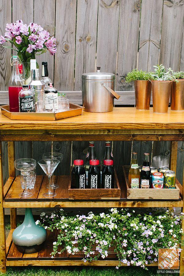 Simple Patio Decorating Ideas: A custom-made bar table No instructions just an idea