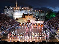 The Edinburgh Tattoo showing the castle esplanade, reminds me of my childhood treats..