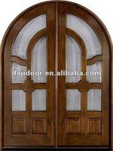 Vidro chanfrado inserções Arch principal portas de madeira DJ-S9971