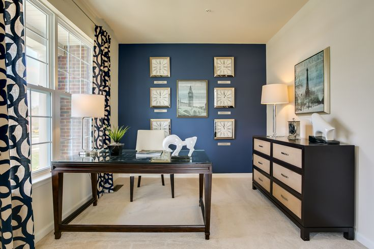 Love the blue accent wall den library office study for Home office accent wall