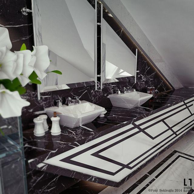 Salle de bain de luxe au design modern et chic moderne Salle de bain de luxe moderne