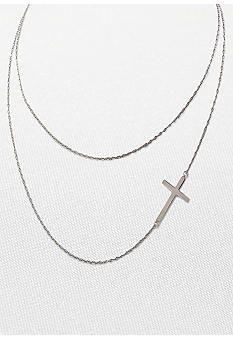Belk & Co. Sterling Silver Double Chain Sideways Cross Necklace
