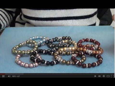 Tutorial Bracciale Elastico con Perle, Rondelle e Sfere Strass Swarovski - Millelucistones.com - YouTube