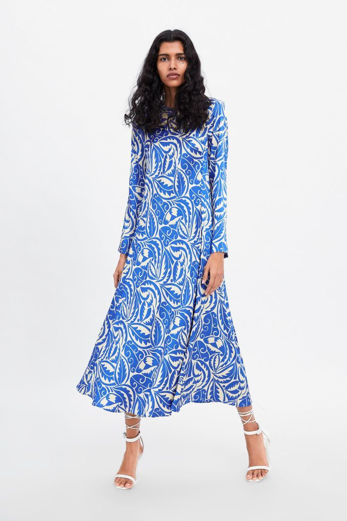 Zara Long Printed Dress Printed Long Dresses Womens Dresses Dresses