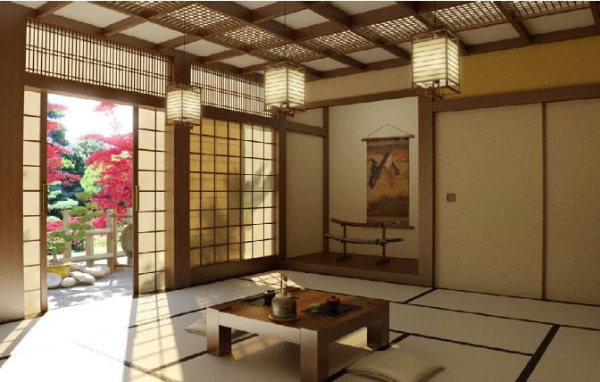 Living-room-in-Japanese-style-with-wooden-table