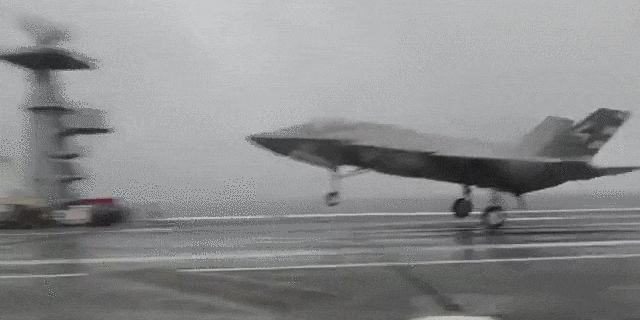 Watch an F-35C Stick a Carrier Landing in Stormy Hurricane Weather