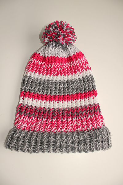 Knifty Knitter hat. A DIY that's easy as pie! -Read the tutorial on my blog Fabulous Finnish (www.fabulousfinnish.com)