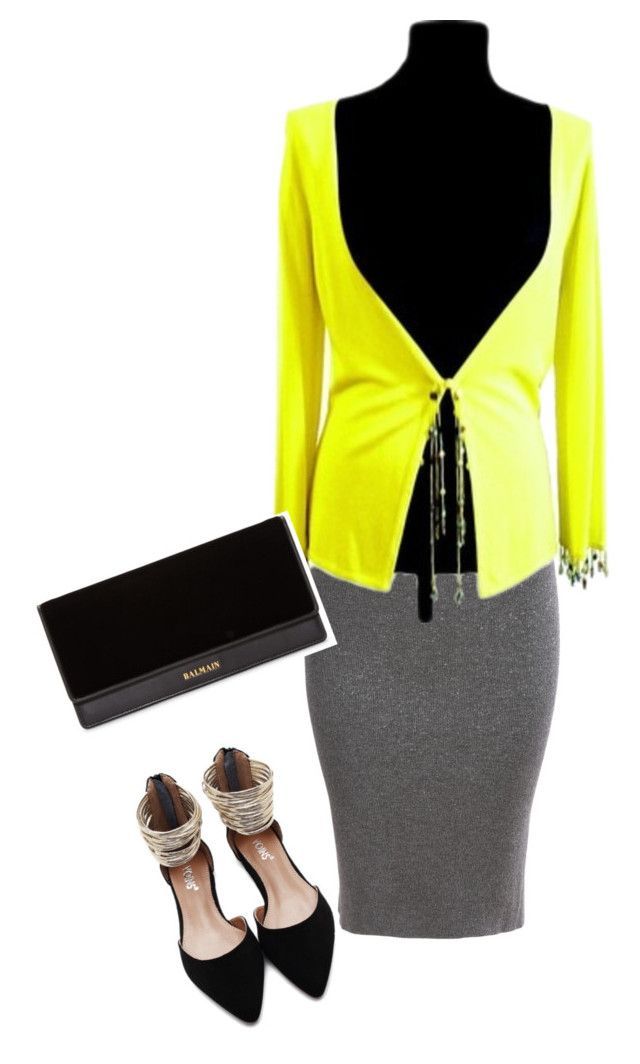 """yellow, black, grey"" by slavka-cesnek on Polyvore featuring ESCADA and Balmain"