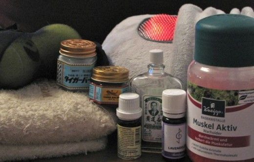 Massage cushion, home-made tennis ball massage device, heat pack, menthol rubs, relaxing essential oils and bath salts with wintergreen - to combat sciatica.