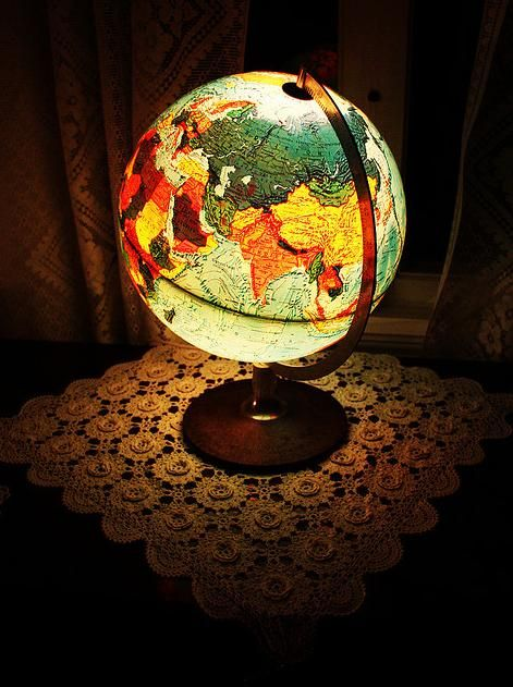 Globe Lamp. Pinner: My brother has one of these in his somewhat nautical/traveller-themed bedroom. He uses it as a night light.