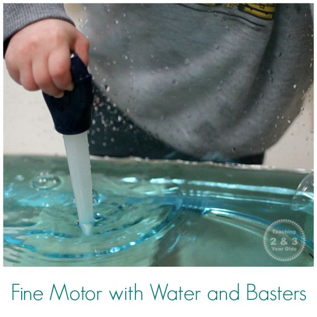 Add basters to your toddler fine motor water activity to build those pre-writing skills! Can be done in a water table or the bath tub.