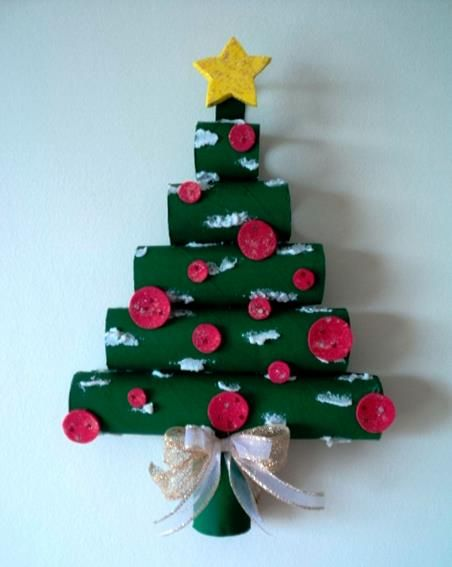 #knutselen met #kinderen tijdens #kerst: #DIY kerstboom van keukenrollen
