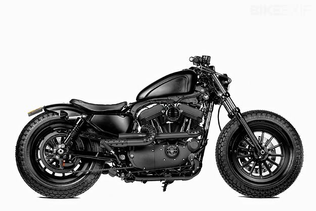 UK dealer Shaw Speed & Custom has hooked up with Taiwanese hotshop Rough Crafts to create this murdered-out Harley 48 Sportster.