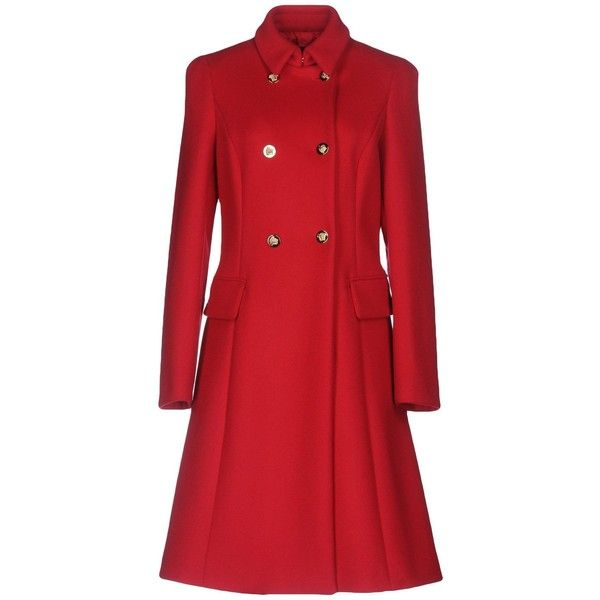 Versace Coat ($1,750) ❤ liked on Polyvore featuring outerwear, coats, red, versace coat, red coat, double breasted woolen coat, red wool coat and long sleeve coat