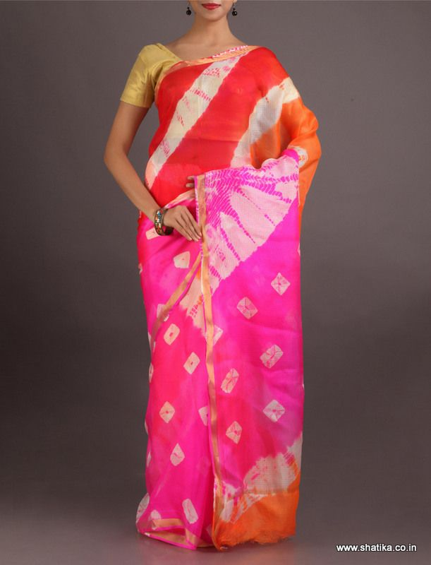 Heena Colorful Dockets And Lines #LehariyaSilkSaree