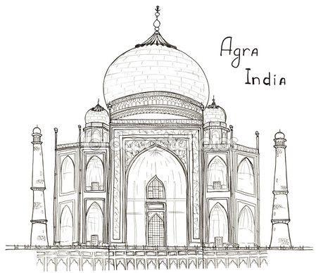 Esbozo de arquitectura dibujada mano de Agra, la India Taj Mahal con letras aisladas en blanco — Imagen de stock #92470916