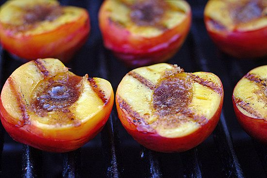Grilled peaches with cinnamon -- tastes like peach cobbler without the crust.