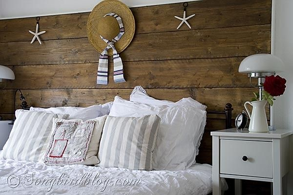 Summer beach look for the bedroom -love the reclaimed lumber headboard