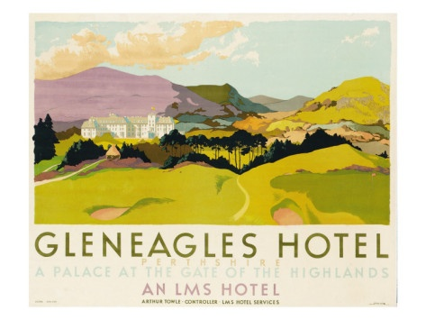 color: Vintage Posters, Schools, Poster Advertising, 1924 Colour, Vintage Gleneagles, Gleneagles Hotel, Travel Posters, Hotels