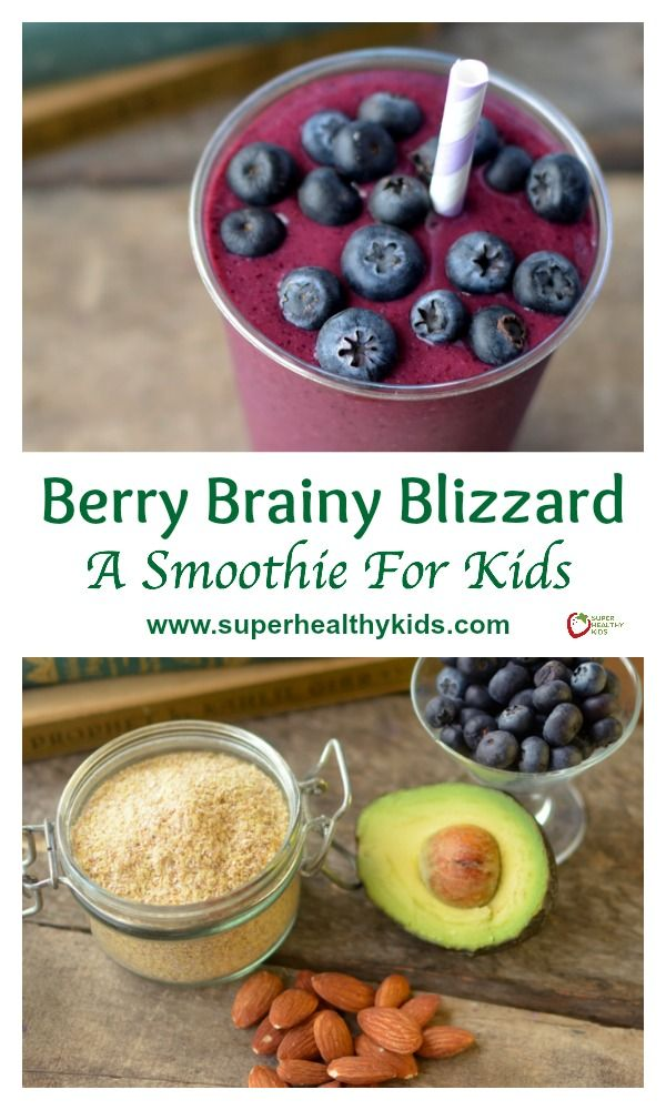 Berry Brainy Blizzard Recipe - A Smoothie For Kids. Drink your way to smarter kids! http://www.superhealthykids.com/berry-brainy-blizzard-a-smoothie-for-kids/