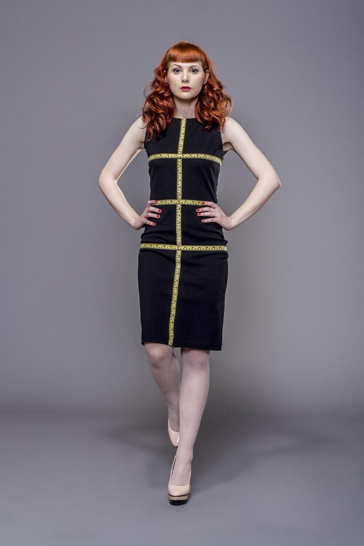 Dress with measure tape elements by Fanfaronada