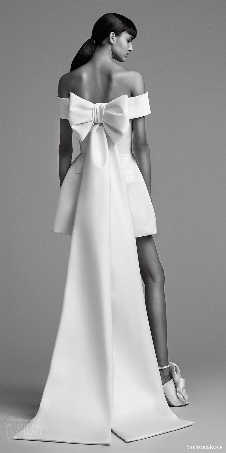 viktor and rolf fall 2018 bridal off shoulder mini pantsuit (20) bv bow back train modern chic -- Viktor