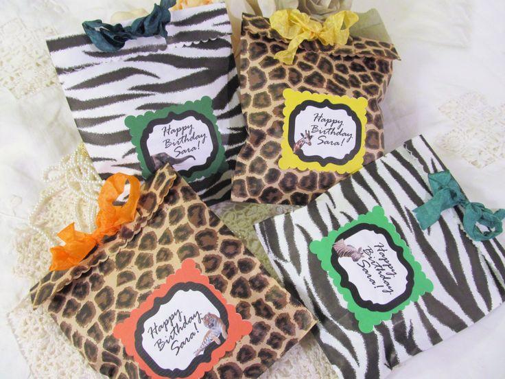 Safari Zoo Party Favor Treat Bags - Leopard Zebra Jungle Animals - Set of 8 - Animal zoo birthday Safari Birthday Shower by auntiesjammies on Etsy https://www.etsy.com/listing/248068271/safari-zoo-party-favor-treat-bags