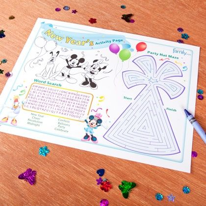 Mickey & Friends New Year's Activity Page (banner, hats and more)- Free downloads and printables.