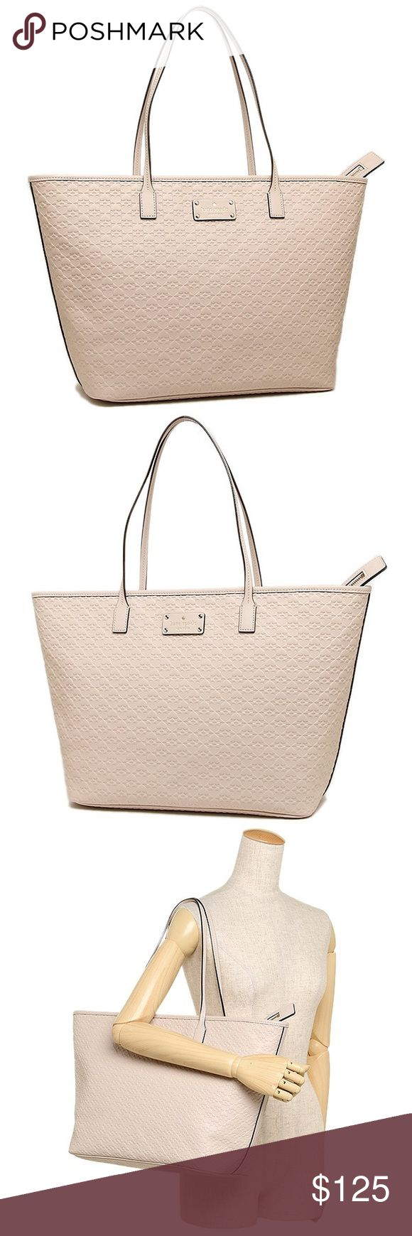 """Kate Spade • Penn place embossed Margareta, Pebble Kate Spade    Available in my closet : Black or Pebble (Tan cream)*  PRICE FOR ONE  14K Light Gold Tone Accents Coordinating Signature Kate Spade Lining  Spade Embossed Leather 9"""" Drop  13""""L bottom 18"""" top x 11.5""""H  x 6.5""""W Top Zip Closure 2 sidewall pockets 1 zippered pocket kate spade Bags Totes"""