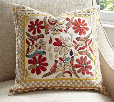 Nyla Floral Embroidered Pillow Cover #potterybarn
