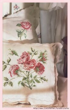 Роза на подушке2 вышивка крестом схемы