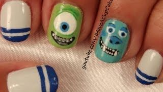 monster inc nail art - YouTube