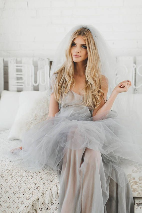 Ombre Wedding Veil Ombre Bridal Veil Gray Wedding Veil Dip